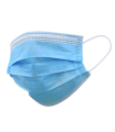 Pack of 50x 3-ply disposable surgical face mask blue (EN14683)